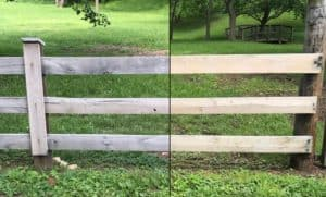 Oak fence after and before ferrous sulfate treatment