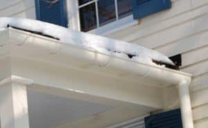The use of cast aluminum brackets means the gutter can stand up to ice and snow