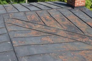 Rusted terne metal roof on an historic house