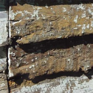Original decayed wooden siding