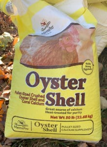 Fifty pound bag of oyster shells sold for raising chickens and used to creat oyster shell paths